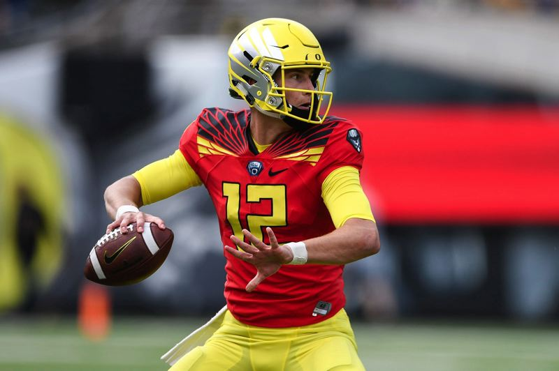 PMG FILE PHOTO: CHRISTOPHER OERTELL - Quarterback Tyler Shough and the Oregon Ducks open the abbreviated 2020 season against Stanford at Autzen Stadium.