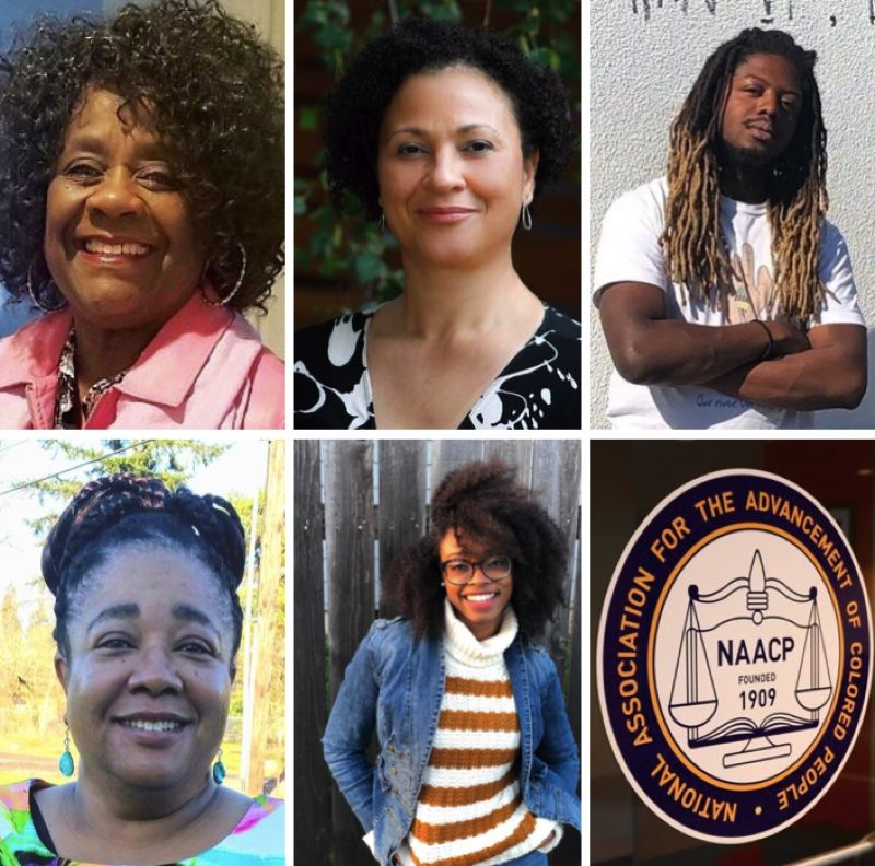 COURTESY PHOTOS - CLOCKWISE FROM LEFT: Sharon Gary-Smith, Tamia Deary, Donovan Smith, Natalie Rush and Rhyan M. Hills are running in the club election for the Portland chapter of the NAACP.