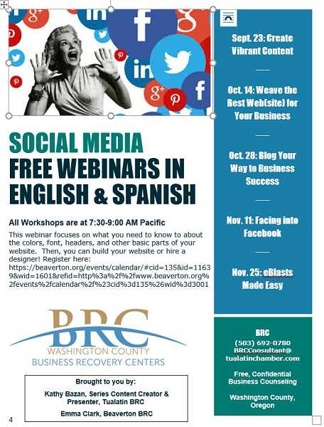 COURTESY FLYER BRC - Business Recovery Centers are presenting five webinars on social media marketing beginning Oct. 14.