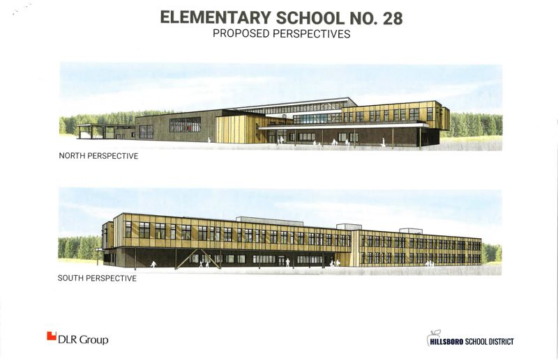 COURTESY IMAGE: DLR GROUP - Renderings of the exterior of the Hillsboro School District's new elementary school in North Plains.