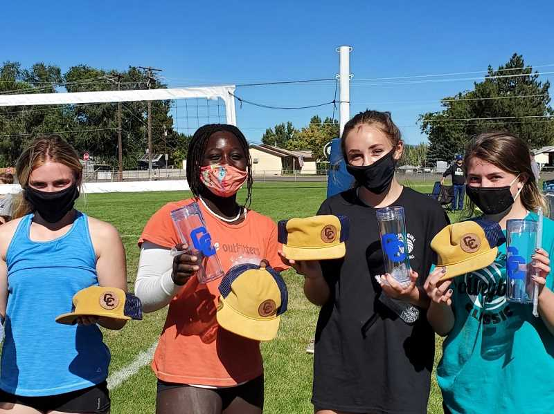 LON AUSTIN - The winners of the Sept. 27 14-and-under grass volleyball tournament were, from left to right, Jaycee Villastrigo, Joanna McKinnon, Abby Wilkinson and Alexys Wells, all freshmen at CCHS.