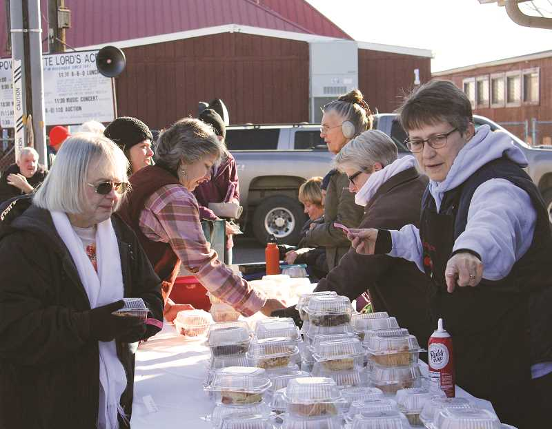 CENTRAL OREGONIAN - One of the main draws during the Lord's Acre Day is its pies, which are sold by the slice and whole throughout the morning.