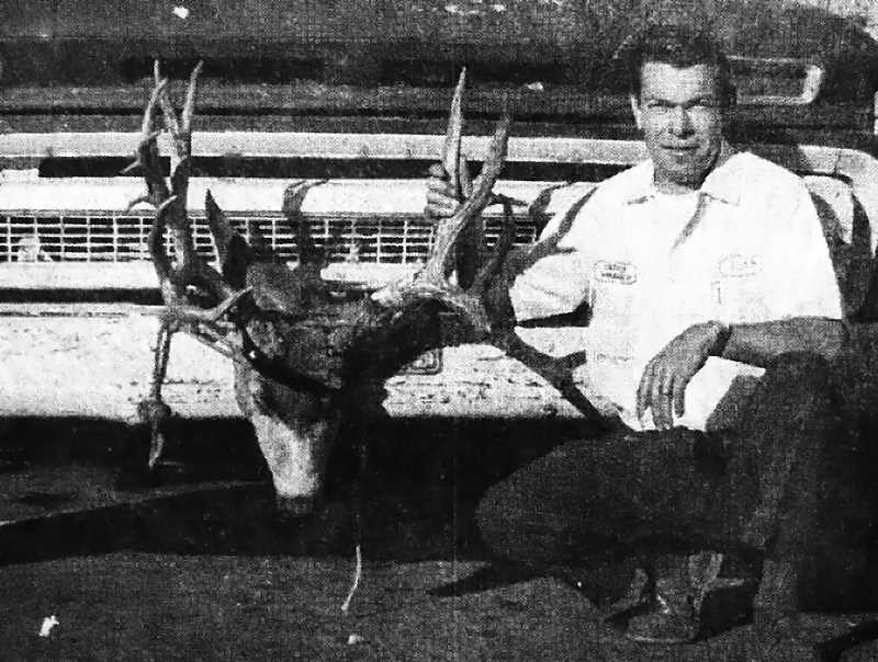 CENTRAL OREGONIAN - October 8, 1970: Herb Sibley, 665 W. Third, shows off his trophy from the leading buck midway in the Izaak Walton League's Big Buck Contest. The buck weighed in at 199 pounds. Sibley took the deer near Cline Falls on Sunday morning. Going into the final week of the contest, Harold Isaacson is second with a 190-pound buck, Doug Breese is third at 185, and Richard Beatty is fourth with 177 pounds.
