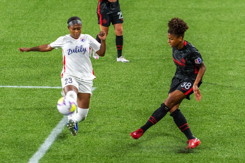 PMG PHOTO: DIEGO G. DIAZ - The development of attacking players, including Simone Charley (pictured delivering a cross that produced a Rocky Rodriguez goal on Sept. 30) is part of a positive fall for the Portland Thorns.
