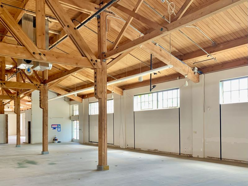 COURTESY: KILLIAN PACIFIC - The high ceilings and original timbers of the former home of the Oregon Electric Group will be retained by Bora Architects when it remodels the building, to be called Volta, and moves in in 2021.