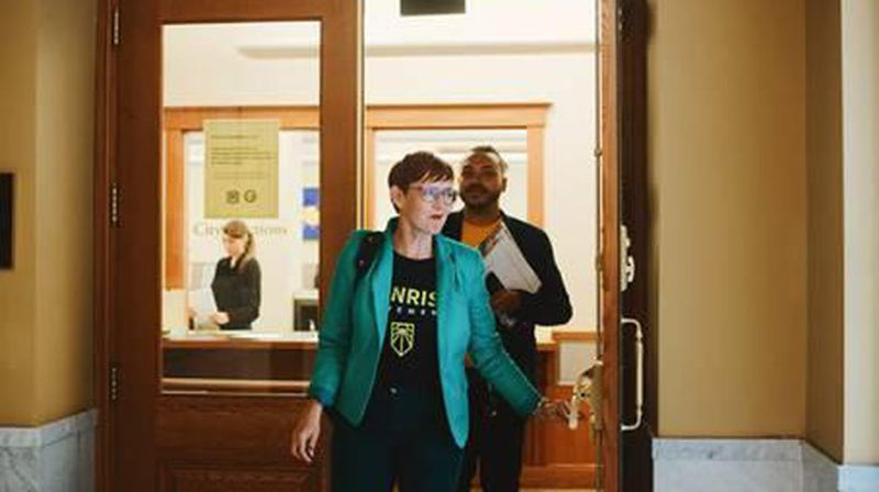 COURTESY OPB - Mayoral candidate Sarah Iannarone at the City Auditors Office.