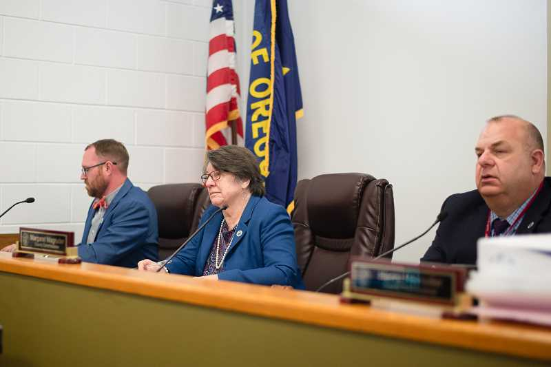 PMG PHOTO: ANNA DEL SAVIO - Columbia County Commissioners Alex Tardif, Margaret Magruder and Henry Heimuller appear at a meeting in 2019.
