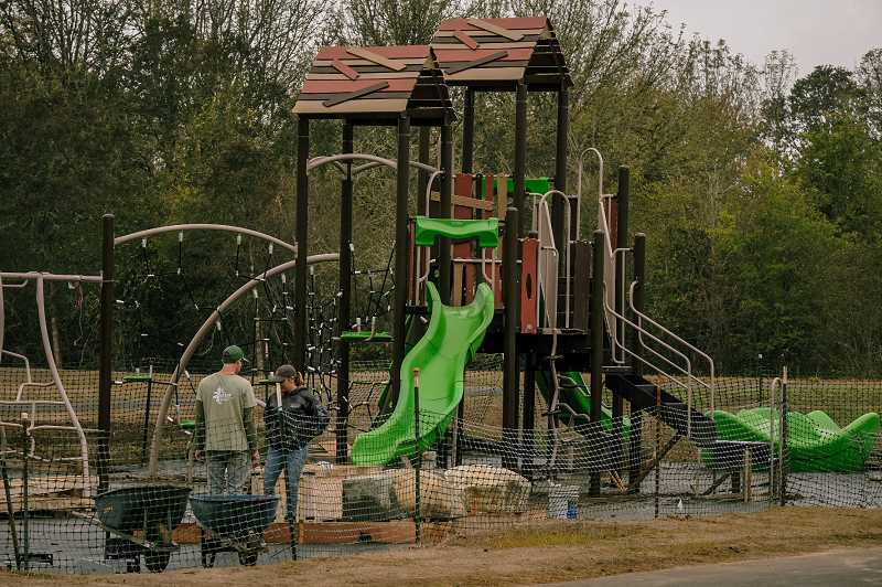 PMG PHOTO: COLIN HYATT - Crews have erected the lion's share of new playground equipment at Friends Park in Newberg.