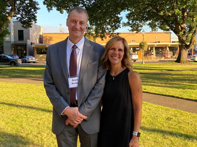 PMG PHOTO: KRISTEN WOHLERS - Scott Archer is pictured with his wife, Tami, in Canby's Wait Park on Aug. 17.