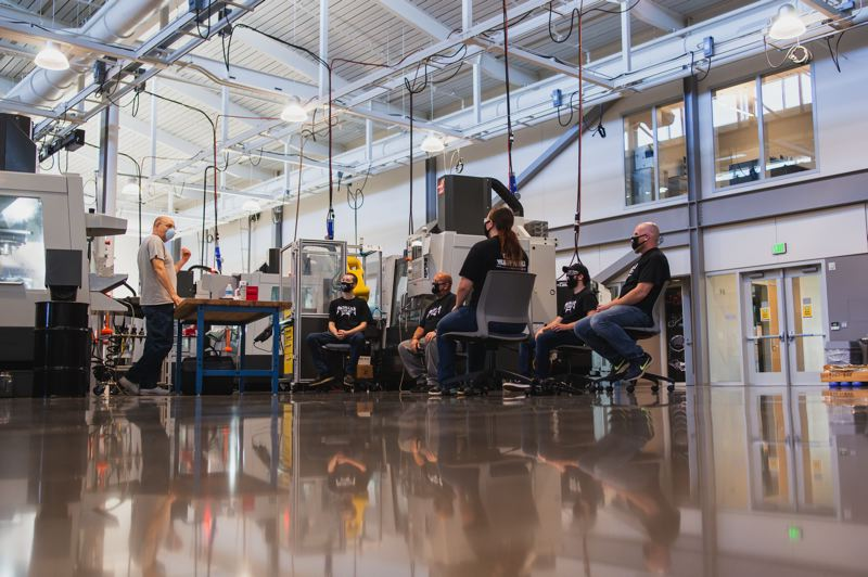 COURTESY PHOTO: CLACKAMAS COMMUNITY COLLEGE - Clackamas Community College is offering limited in person classes in a few fields of study. Here a small group of masked, socially-dististanced industrial technology students gather.