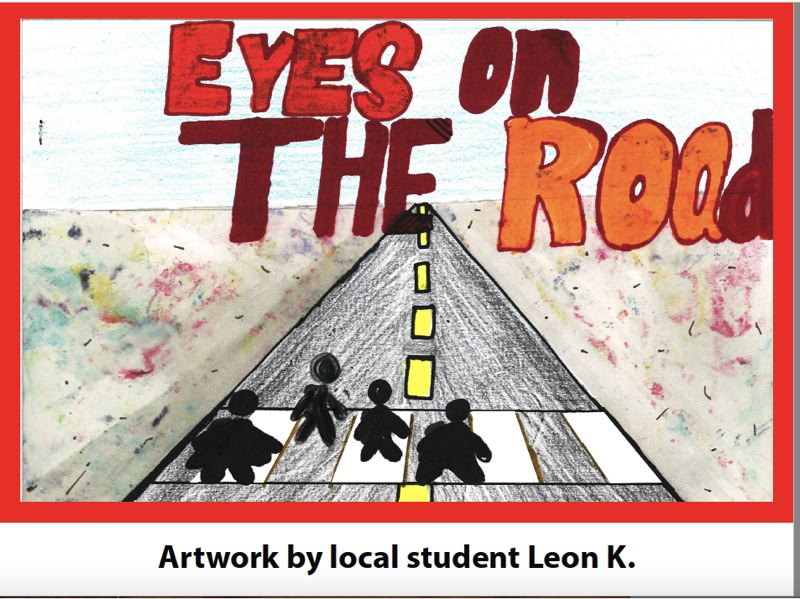 COURTESY DRAWING: GRESHAM-BARLOW SCHOOL DISTRICT - Artist Leon urges drivers to pay attention.