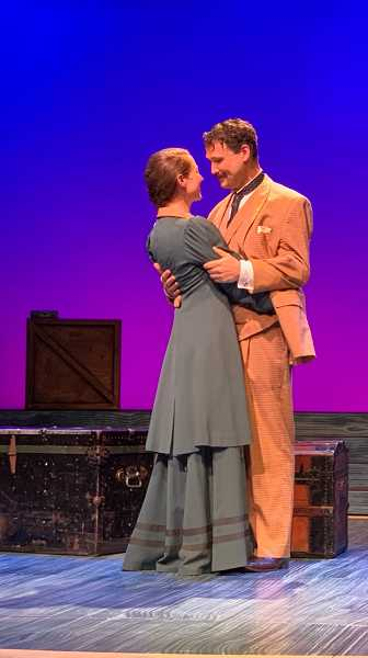 COURTESY PHOTO: BROADWAY ROSE THEATRE CO.  - Malia Tippets, still dressed as her Daddy Long Legs character Jerusha, proposed to her partner, Joe Theissen, following a run-through performance of the musical Oct. 2.