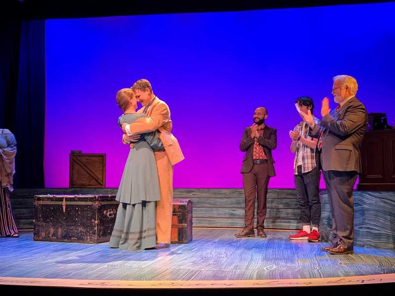 COURTESY PHOTO: BROADWAY ROSE THEATRE CO.  - Actress Malia Tippets proposes to fellow actor and real-life partner, Joe Theissen, onstage Oct. 2 at Broadway Rose Theatre Co.