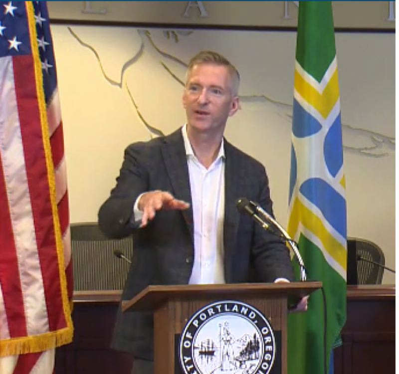 KOIN 6 NEWS SCREENSHOT - Mayor Ted Wheeler speaks at a Monday morning perss conference.