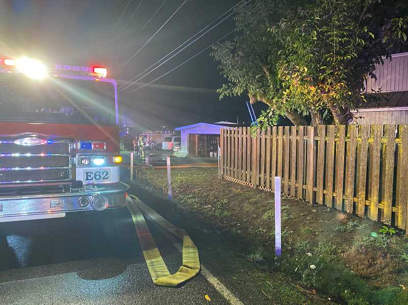 COURTESY PHOTO: TUALATIN VALLEY FIRE & RESCUE  - Two adults, five children and two dogs were displaced due to fire and smoke damage, according to TVF&R.