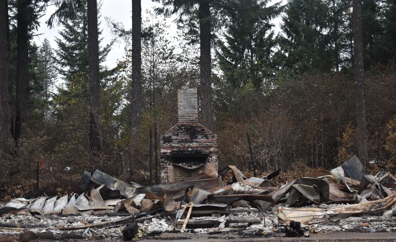 PMG PHOTO: EMILY LINDSTRAND - The Dodge Community Church building was one of the casualties of the Riverside Fire.