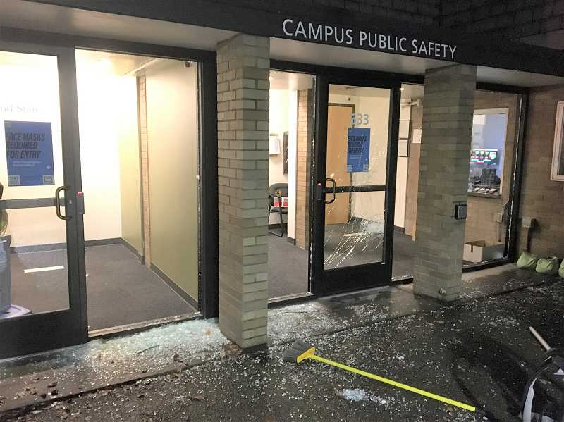 PHOTO COURTESY OF PORTLAND POLICE BUREAU - The Campus Public Safety building at Portland State University was vandalized Sunday, Oct. 11 during protests that also saw two statues toppled in downtown Portland.