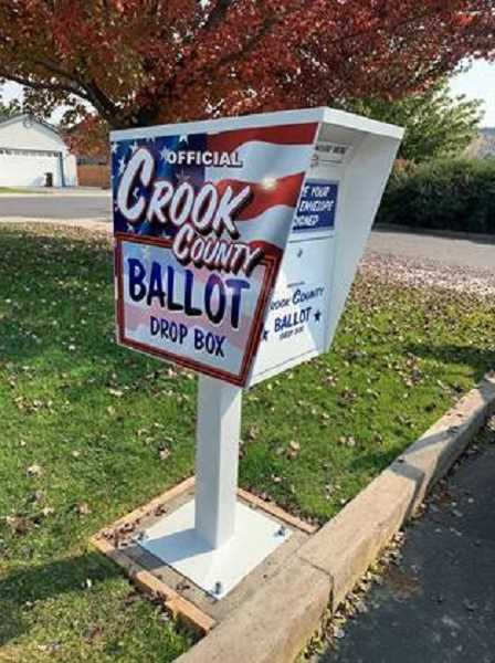 PHOTO SUBMITTED BY CHERYL SEELY  - A new ballot drop box was recently installed near the Crook County Library.