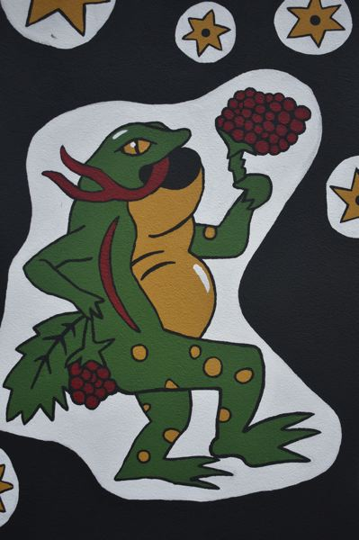 PMG PHOTO: EMILY LINDSTRAND - This frog is one of several designs on 'The Natural World' mural.