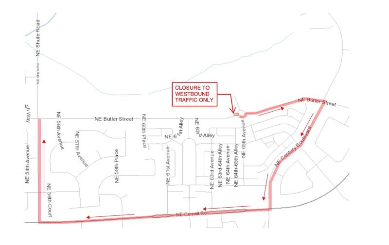 COURTESY MAP: CITY OF HILLSBORO - A map shows a detour at via Northeast Century Boulevard, Northeast Cornell Road and Northeast Shute Road for a temporary road closure at the westbound, single lane portion of a roundabout at Northeast Butler Street and 65th Avenue.