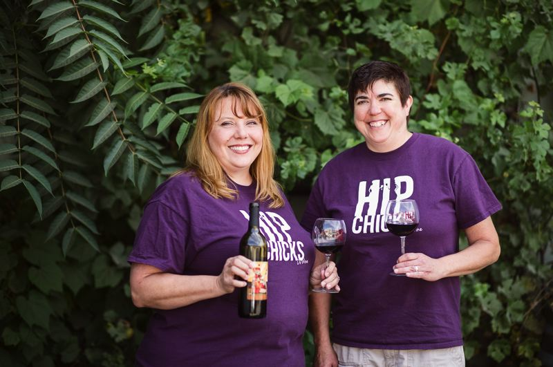 COURTESY PHOTO - Hip Chicks Do Wine is the oldest urban winery, being formed in 1999 by Laurie Lewis (left) and Renee Neely.