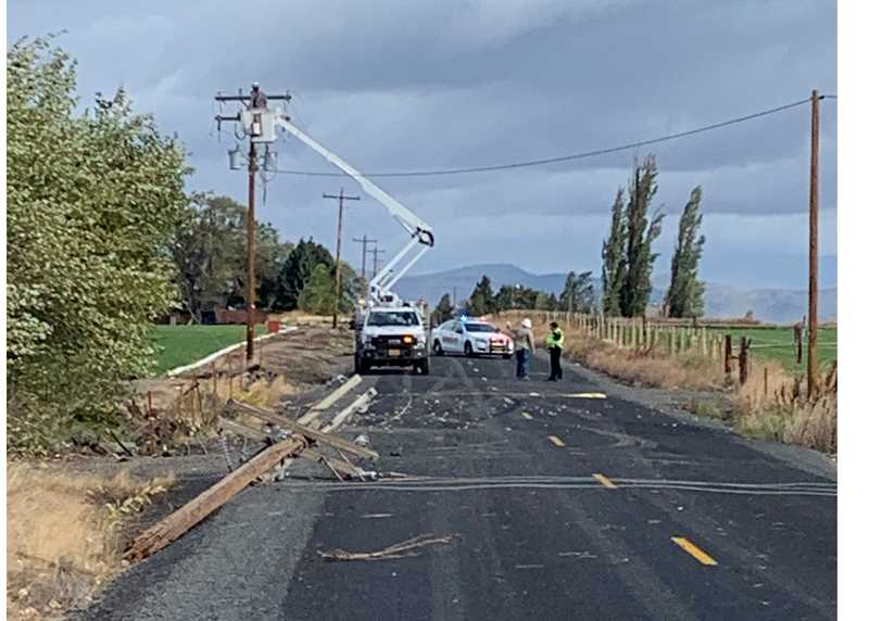 JEFFERSON COUNTY SHERIFF'S OFFICE - A single vehicle went off the roadway Oct. 13, damaging a power line pole and came to rest on its top in a field.
