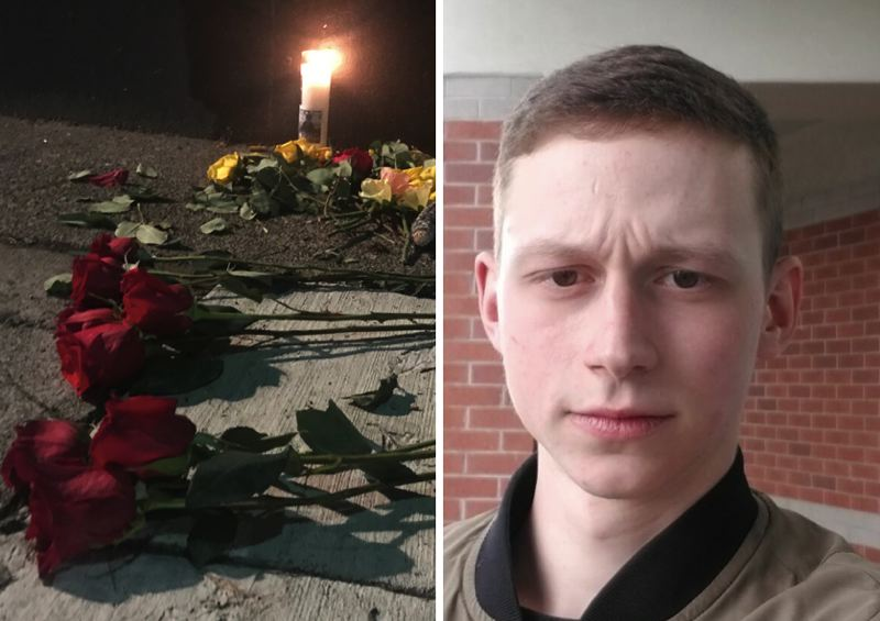 PMG/COURTESY PHOTO - A memorial for Sean Kealiher, right, was laid near the offices of the Democratic Party of Oregon in Northeast Portland on Oct. 12.