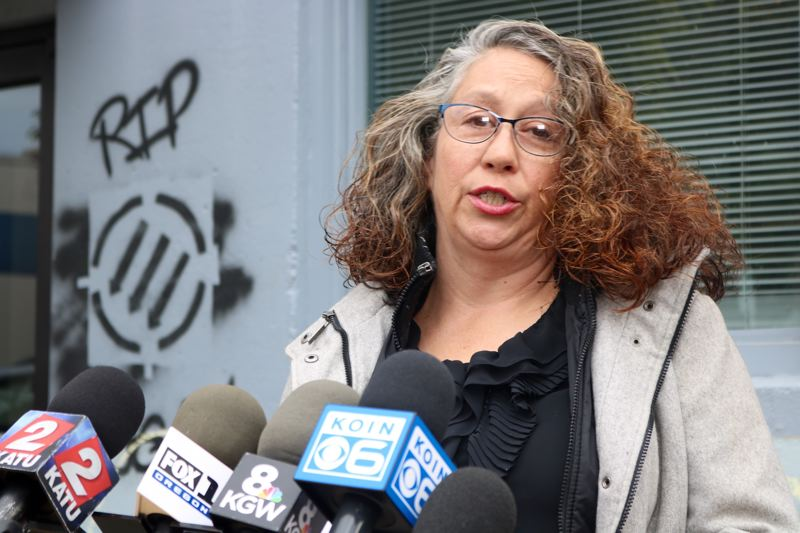 PMG PHOTO: ZANE SPARLING - Laura Kealiher spoke with the media on Tuesday, Oct. 15, 2019, in Portland near the memorial for her son, Sean Kealiher.