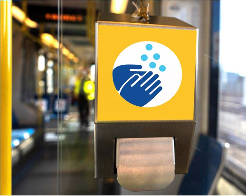 COURTESY TRIMET - A hand sanitizer dispenser on A TriMet MAX train. The regional transit agency allows 3-foot social distancing while providing masks, hand santizer stations, and more cleaning.