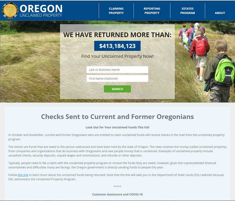 COURTESY PHOTO - To find out if you or a business is owed unclaimed funds, go to https://unclaimed.oregon.gov/.