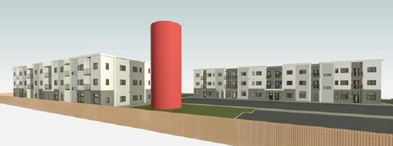 COURTESY OF WDC PROPERTIES - A rendering of the 80-unit apartment complex planned by WDC Properties includes the historic Peace Candle.