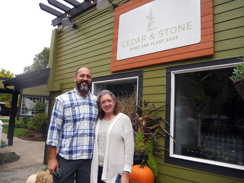 PMG PHOTO: SCOTT KEITH - Shane and Christy Goodwin are pictured outside the newly opened  Cedar & Stone Home and Plant Shop in Sherwood.