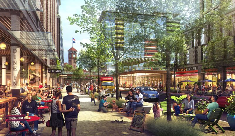 COURTESY: ZGF ARCHITECTS - An artist's rendering of what Johnson Street could like like after the Broadway Corridor redevelopment.