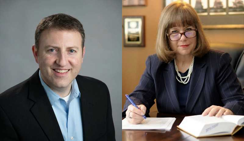 COURTESY - Michael Clarke, left, is running to unseat incumbent Jenefer Grant, right, as a circuit court judge.