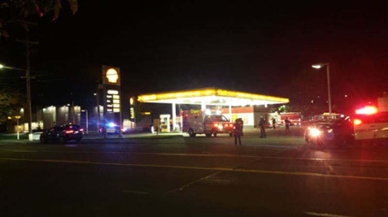 COURTESY PHOTO: KOIN 6 NEWS - The scene of the Southeast Portland shooting Thursday night.