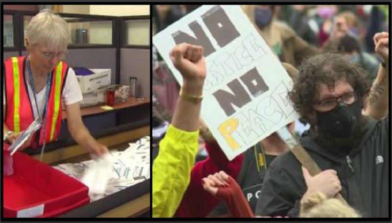 COURTESY PHOTO: KOIN 6 NEWS - A Multnomah County elections worker and Portland protesters.