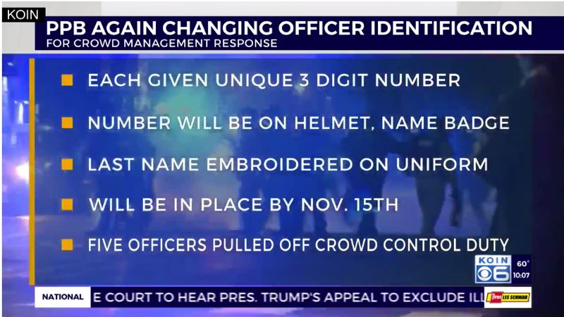 COURTESY PHOTO: KOIN 6 NEWS - The Portland Police Bureau announced on Oct. 16 that officers will display a three-digit number on their helmets to make it easier to identify them.
