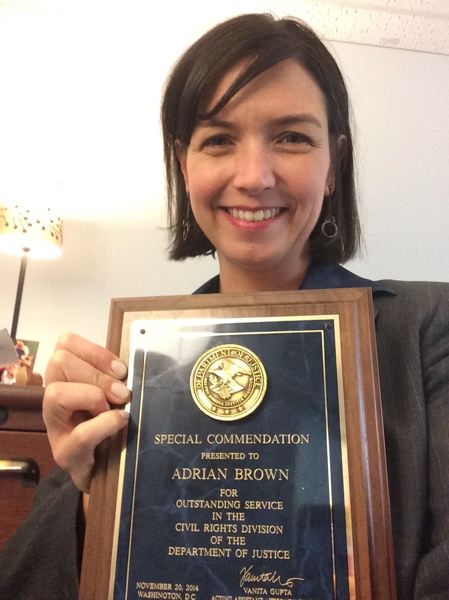 COURTESY - Adrian Brown received a special commendation for outstanding service in the Civil Rights Divison of the U.S. DOJ.