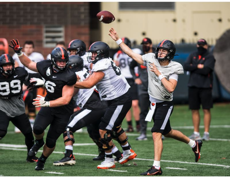 COURTESY PHOTO: KARL MAASDAM/OSU - Tristan Gebbia is still considered to be the frontrunner to play quarterback for Oregon State.