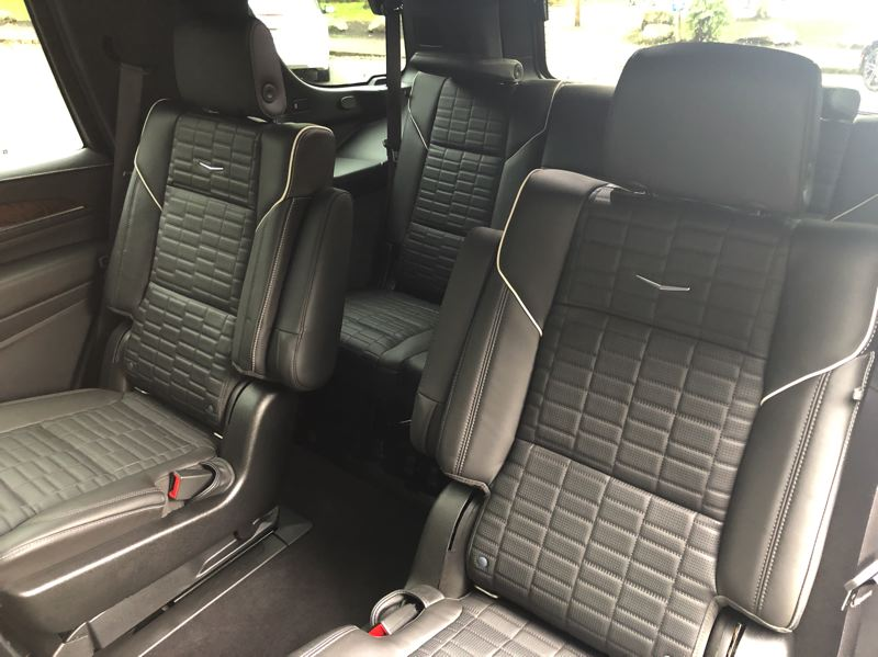 PMG PHOTO: JEFF ZURSCHMEIDE - There are three rows of seats, and there is enough room in the third row for two adults in the 2021 Cadillac Escalade.