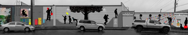 COURTESY PHOTO: BECKY HAWLEY - The initial design for the 'Growing Together' mural included sponsored metal silhouettes.