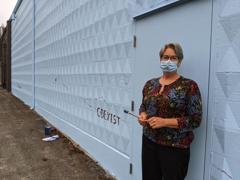 PMG PHOTO: BRITTANY ALLEN - Becky Hawley is moving forward with the 'Growing Together' mural as a privately funded venture with the Wy'East Artisans Guild and building owner Brad Picking.