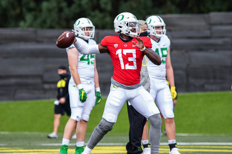 COURTESY PHOTO: OREGON ATHLETICS - Senior transfer Anthoy Brown is in a battle with Tyler Shough to replace Justin Herbert as the Ducks' starting quarterback.