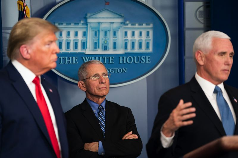 COURTESY PHOTO: WHITE HOUSE - Dr. Anthony Fauci joined President Trump and Vice President Mike Pence during a spring White House briefing on the COVID-19 virus.