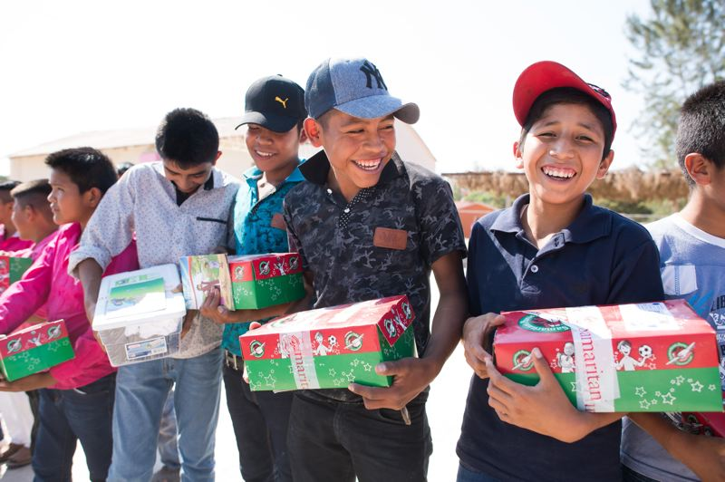 COURTESY PHOTO: SAMARITAN'S PURSE - Children from Mexico are excited to receive items from Operation Christmas Child.