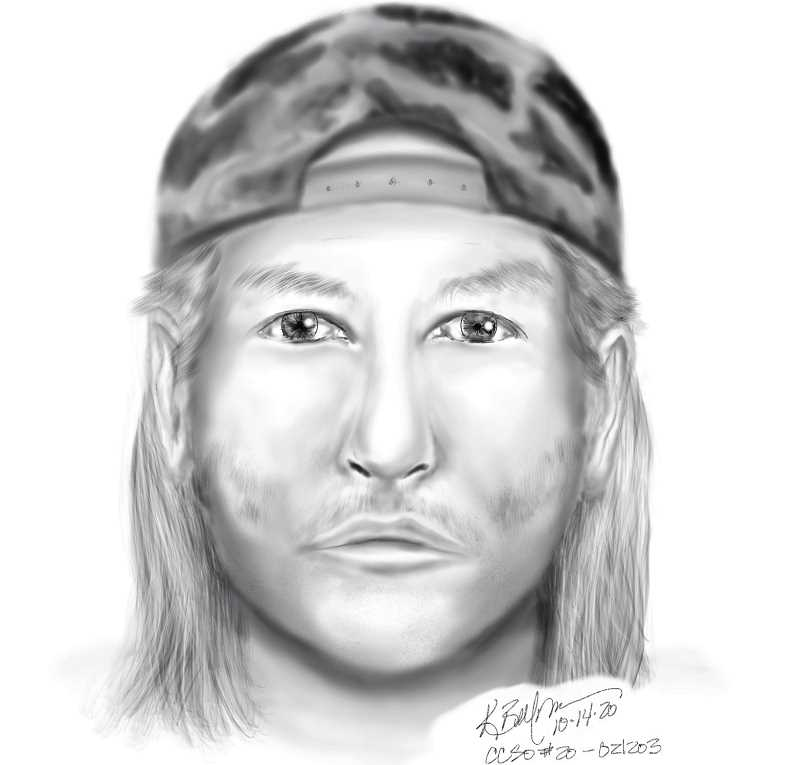 COURTESY DRAWING: CCSO - This forensic sketch shows the attacker who remains at large after a Oct. 1 incident in Happy Valley.