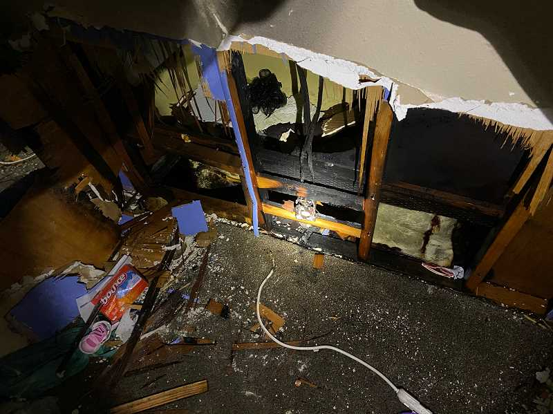 COURTESY PHOTO - Damage from a fire at the Rose Grove Mobile Community in Forest Grove Thursday, Oct. 15.