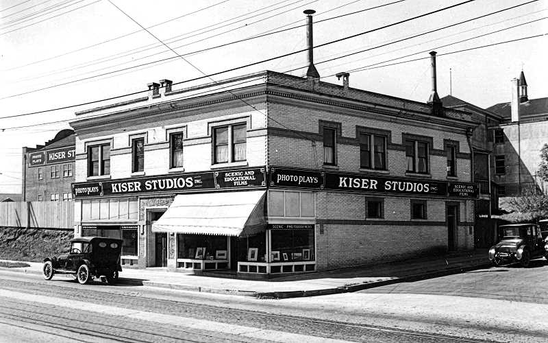 COURTESY OF OREGON HISTORICAL SOCIETY - One of Oregons most prominent photographers, Fred Kiser, opened his photo studio in the Brooklyn neighborhood at 3833 S.E. Milwaukie. This photo, probably taken around 1922, also shows, in the left background, part of the motion picture studio he also operated under his name!