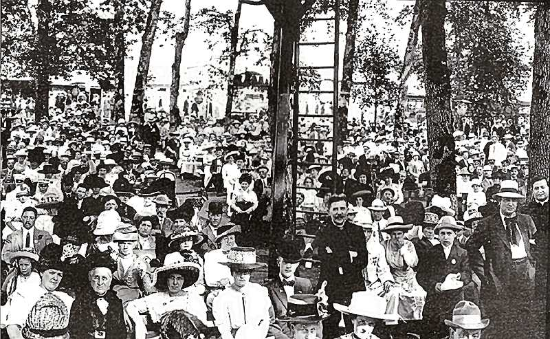 COURTESY OF DANA BECK COLLECTION - On July 4th, 1912, more than 2,000 family members andfriends of the Benevolent and Protective Order of the Elks (BPOE) gathered for a celebration at Oaks Park. In order to get a group picture, a rotating Panoramic camera was used on a tripod to scanback and forth over the large crowd taking pictures. After the photo montage was developed and assembled, the buyer ended up with a photo about four feet long to put on public display. This is just one small section of that wide, wide photo taken at Oaks Park.