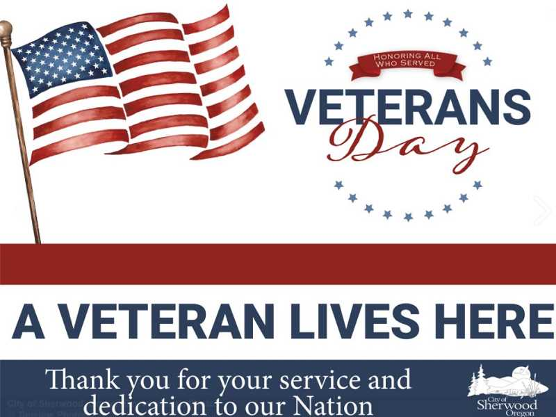 COURTESY PHOTO: CITY OF TUALATIN - Sherwood veterans can pick up a yard sign honoring them for their service at Adams Screenprint beginning Oct. 28.
